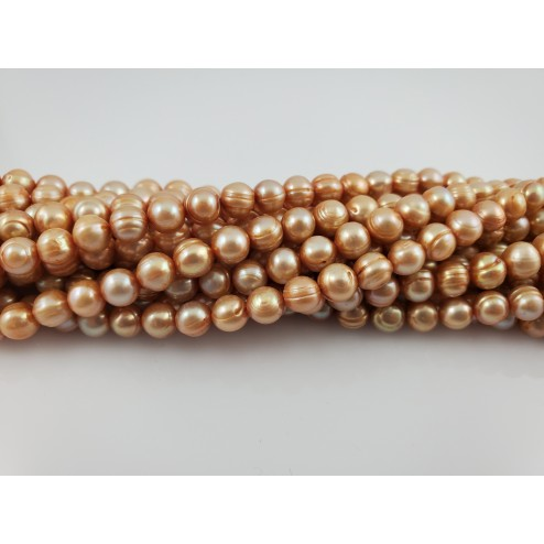 Natural Brown-Gold Freshwater pearls Round