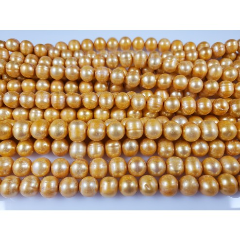 Natural Yellow Gold Freshwater Pearls Round
