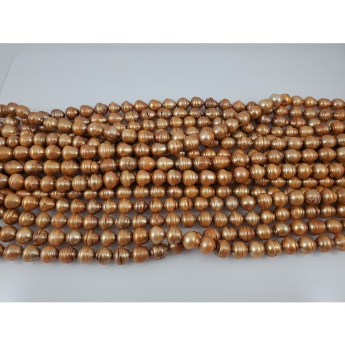 Natural Light Brown-Gold Freshwater Pearls Round