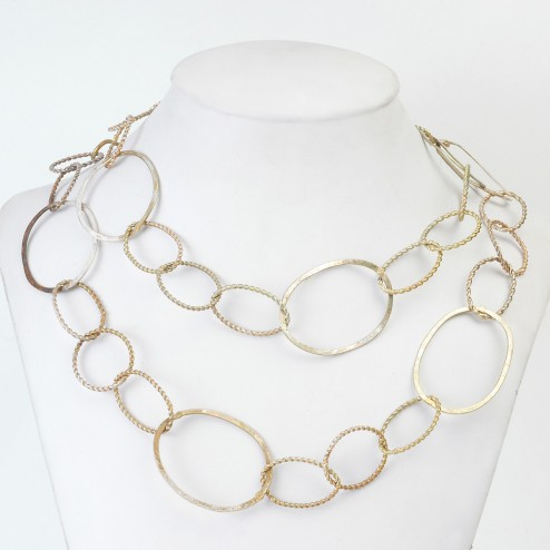 Copper Brushed Twisted Oval and Round Chain Links