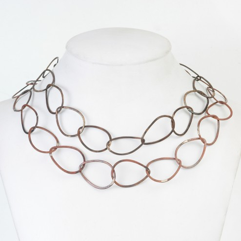 Oxidized Brushed Teardrop Copper Chain Links
