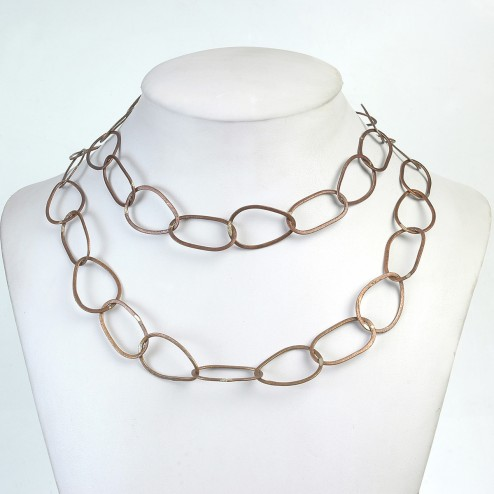 Oxidized Brushed Oval Copper Chain Links