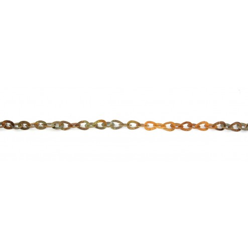Antique Copper Textured Oval and Teardrop Chain Links