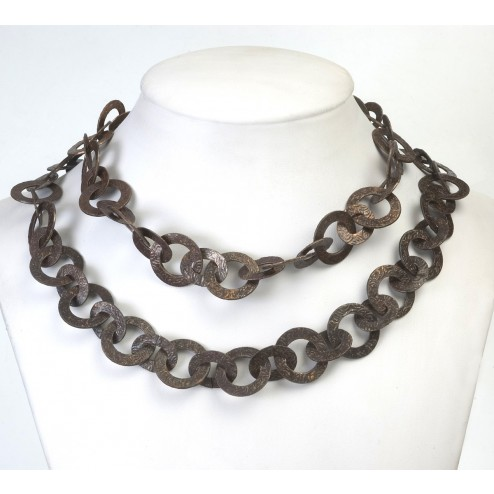 Oxidized Textured Flat Round and Oval Copper Chain Links