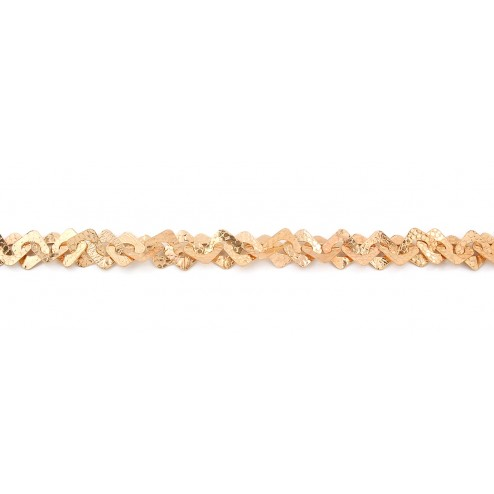 24K Gold Textured Flat Square and Oval Copper Chain Links