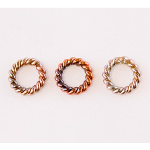 Fire Torched Twisted Soldered 10 Gauge Copper Jump Rings