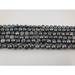 Natural Black Multicolor Pearls Organic Round Flat