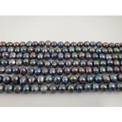 Natural Black Multicolor Pearls Organic Round
