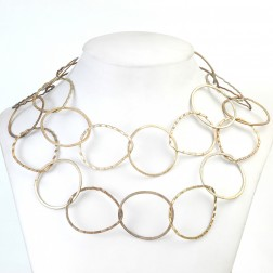 24K Gold and Antique Silver Oval and Ruffled Teardrop Copper Chain Links