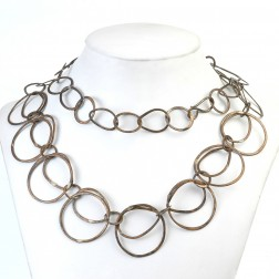 Oxidized Brushed Round and Teardrop Copper Chain Links