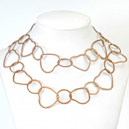 Antique 24K Gold Brushed Heart and Round Copper Chain Links