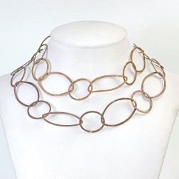Oxidized Brushed Marquis and Round Copper Chain Links