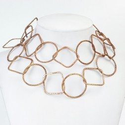 Rainbow Copper Textured Geometric Chain Links
