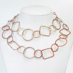 Antique and Rainbow Copper Brushed Geometric Chain Links