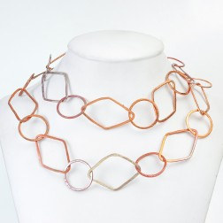 Rainbow Copper Brushed Diamond and Round Chain Links