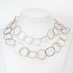 Copper Silver Plated Brushed Organic Shape Chain Links