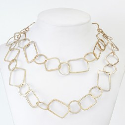Copper Flaxen Gold Brushed Geometric Chain Links