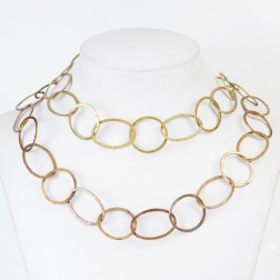 Antique 24K Gold Oval and Round Copper Chain Link