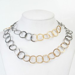 24k Gold and Black Rhodium plated Copper Textured Chain Links