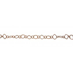 Oxidized Twisted Diamond and Round Copper Chain Links