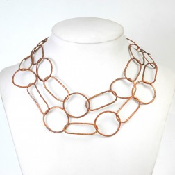 Antique Copper Textured Round, Oval and Elongated Chain Links