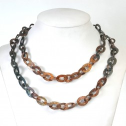 Copper and Black Rhodium Textured Flat Oval and Teardrop Chain Links