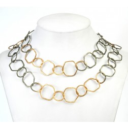 24K Gold and Green Gold Plated Brushed Geometric Copper Chain Links