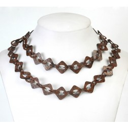 Oxidized Textured Flat Square and Teardrop Copper Chain Links