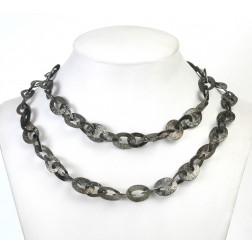 Black Rhodium Plated Textured Flat Oval and Teardrop Chain Links