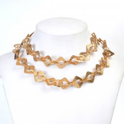 24K Gold Textured Flat Square and Teardrop Copper Chain Links